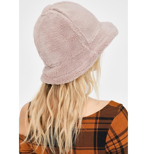 Mauve Cozy Furreal Sherpa Bucket Hat