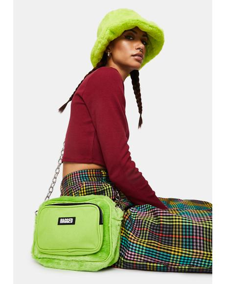 Lime Smug Faux Fur Bumbag