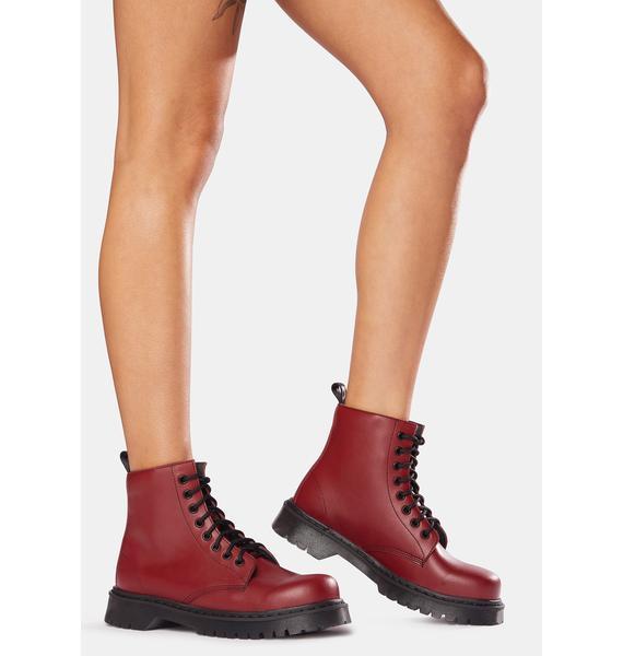 Altercore Burgundy 651 D Vegan Leather Lace-Up Boots