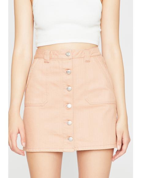 Blush All Day Long Denim Skirt