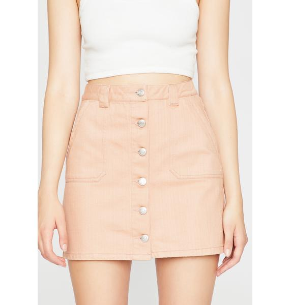 Blush All Day Long Denim Skirt
