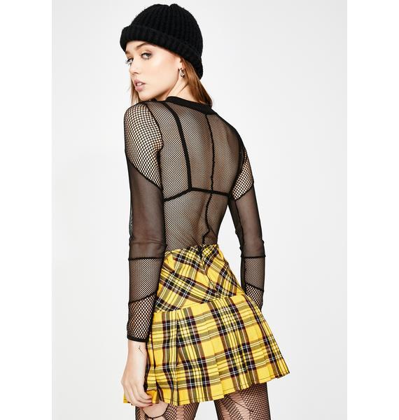 Tripp NYC Pleated Yellow Plaid Skirt