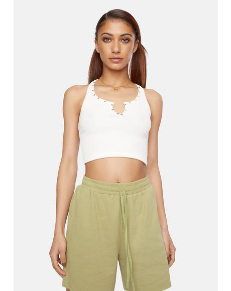 Ivory Hit My Line Studded Tank Crop Top