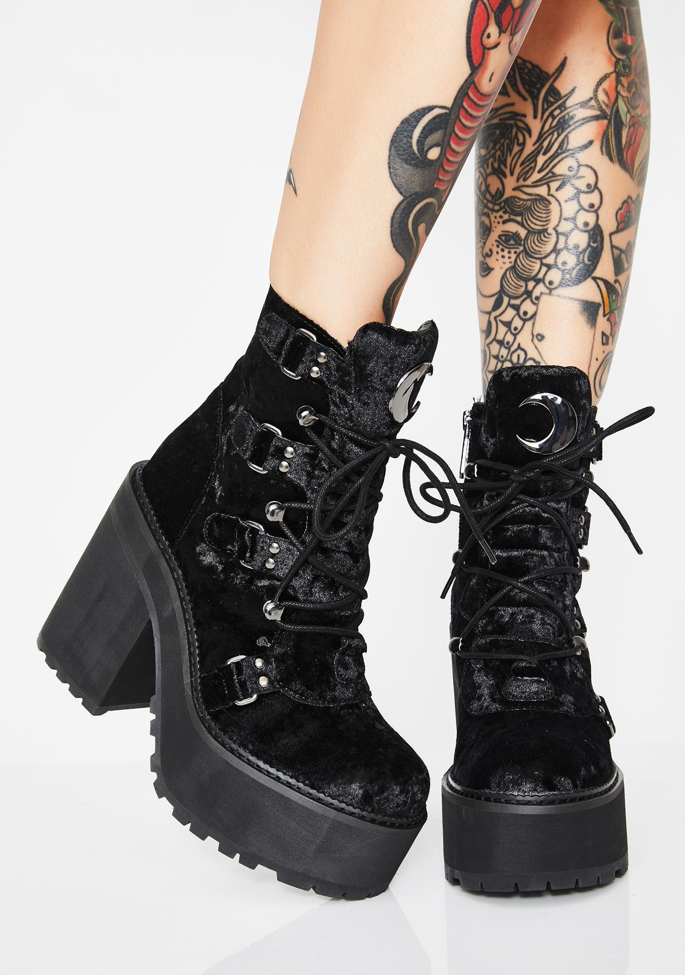 Killstar Velvet Broom Rider Boots
