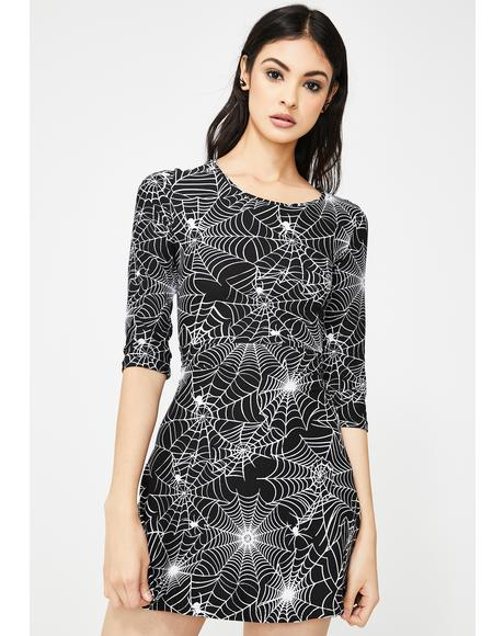 Caught In Horror Spiderweb Dress