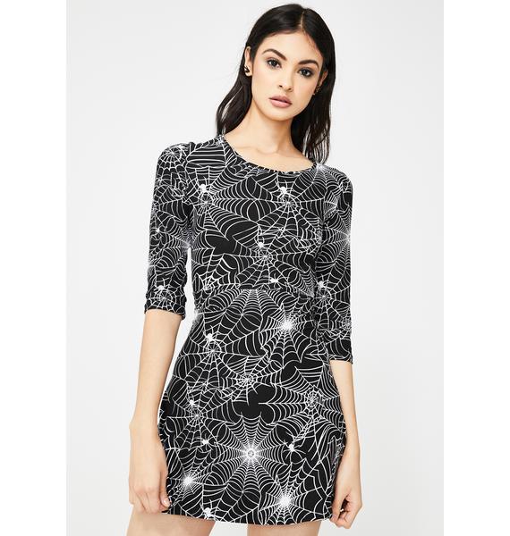 Caught In Horror Spiderweb Dress