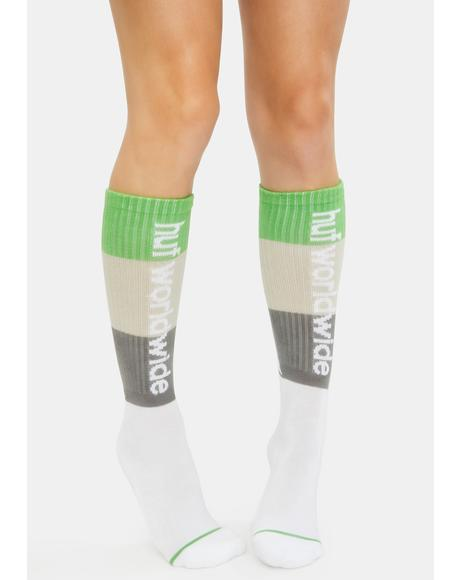 White Peak Stripe Socks