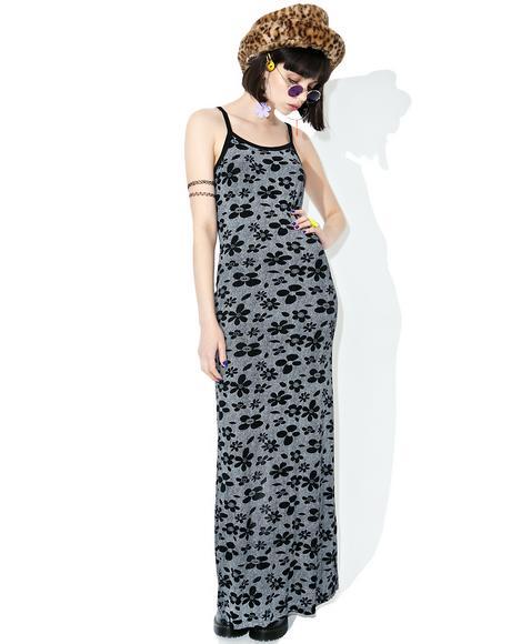 Vintage 90s Black Floral Maxi Dress