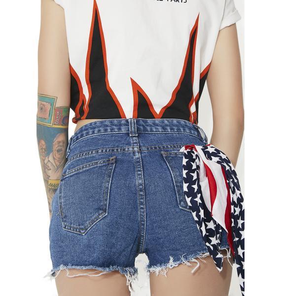 Cutie Cruisin' Paneled Denim Shorts