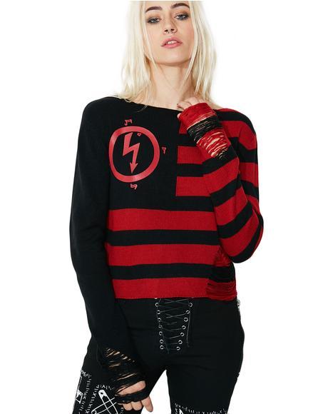 Little Horn Crop Knit Sweater