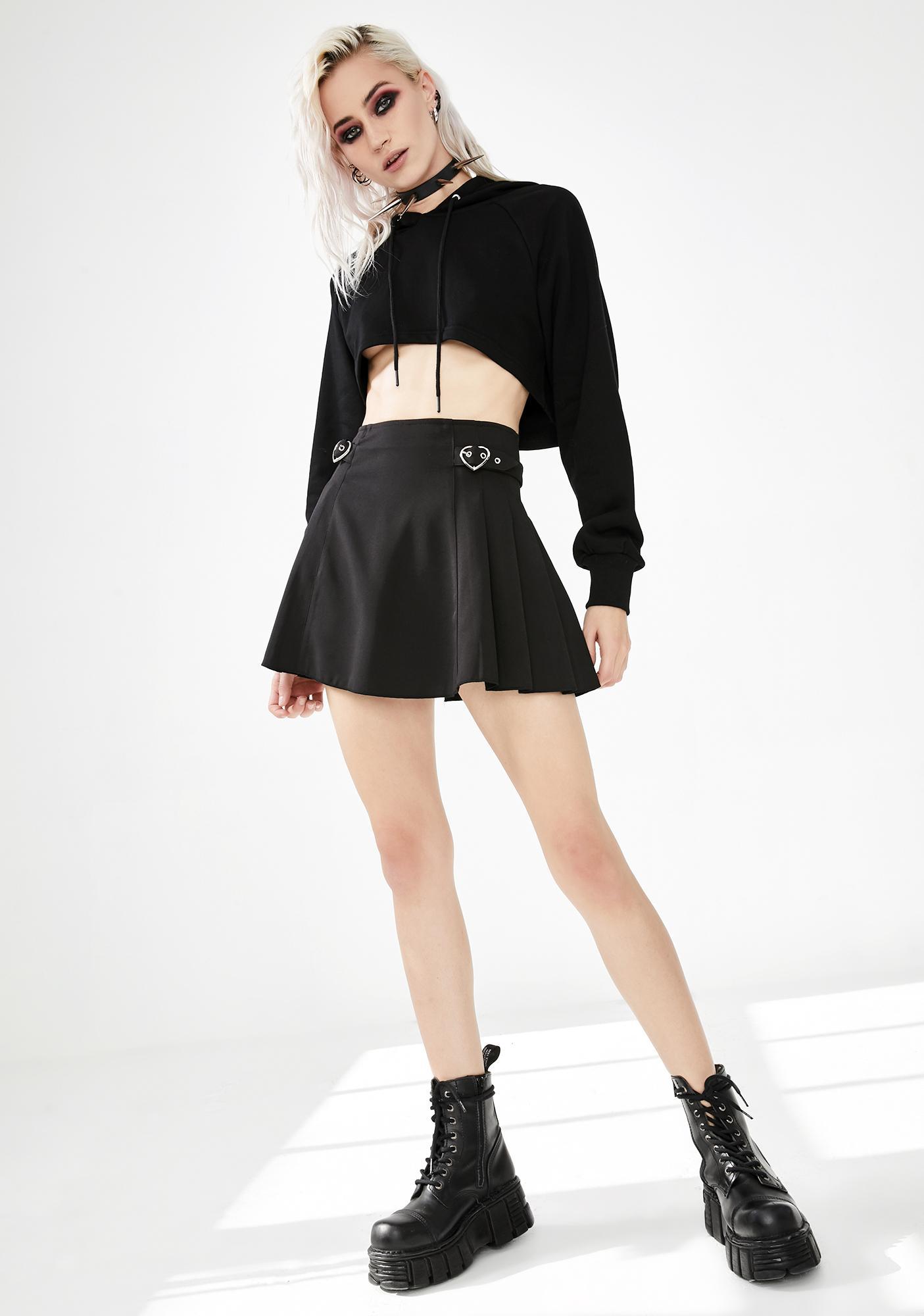 Punk Rave Pleated Heart Buckle Mini Skirt