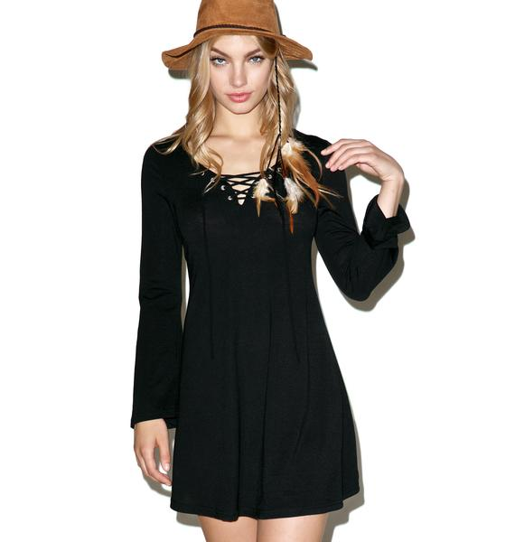 Glamorous Up & At Them Lace Up Tunic Dress