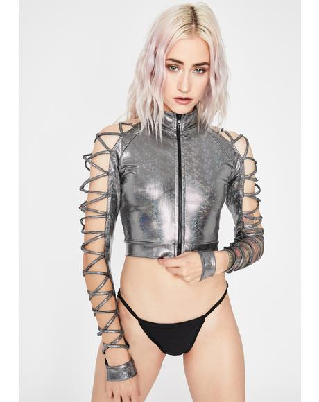 Chrome Electric Lust Crop Jacket
