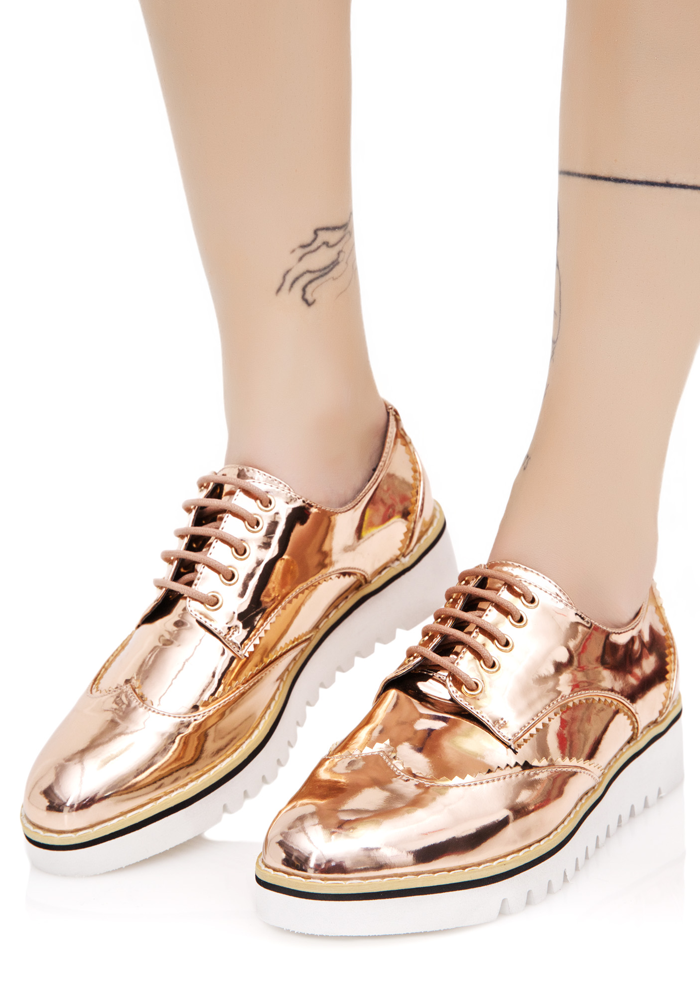 Rose Gold Oxford Flats