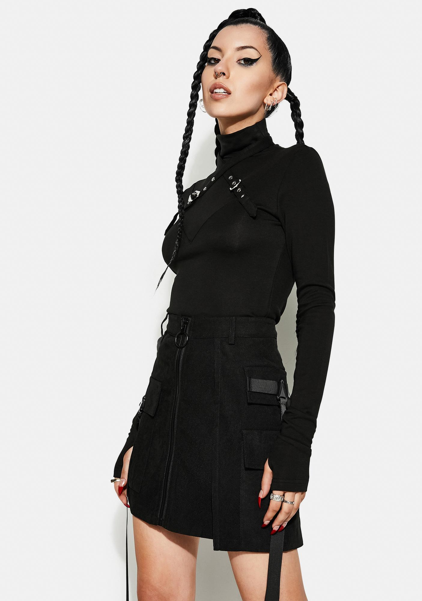 Punk Rave Punk Cross Shoulder Strap Long Sleeve Shirt