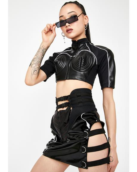 Black Patent Motocross Cut-Out Skirt