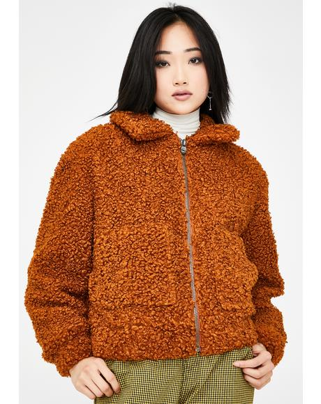 Brown Faux Shearling Teddy Jacket