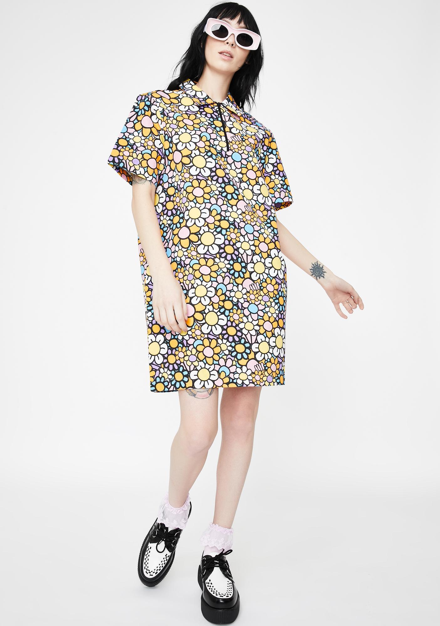 Lazy Oaf In Bloom Zippy Shirt Dress