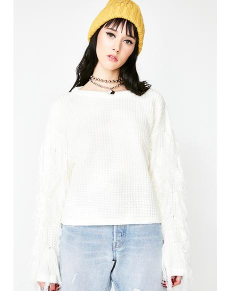 On Edge Fringe Sweater