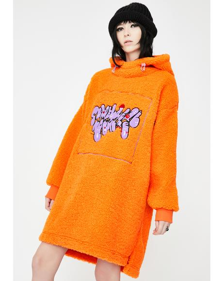 Orange Sherpa Fleece Hoodie Dress