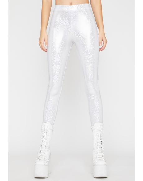 Iced Nuclear Waves Metallic Leggings