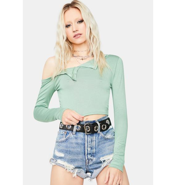Olive Meant To Last Henley Crop Top