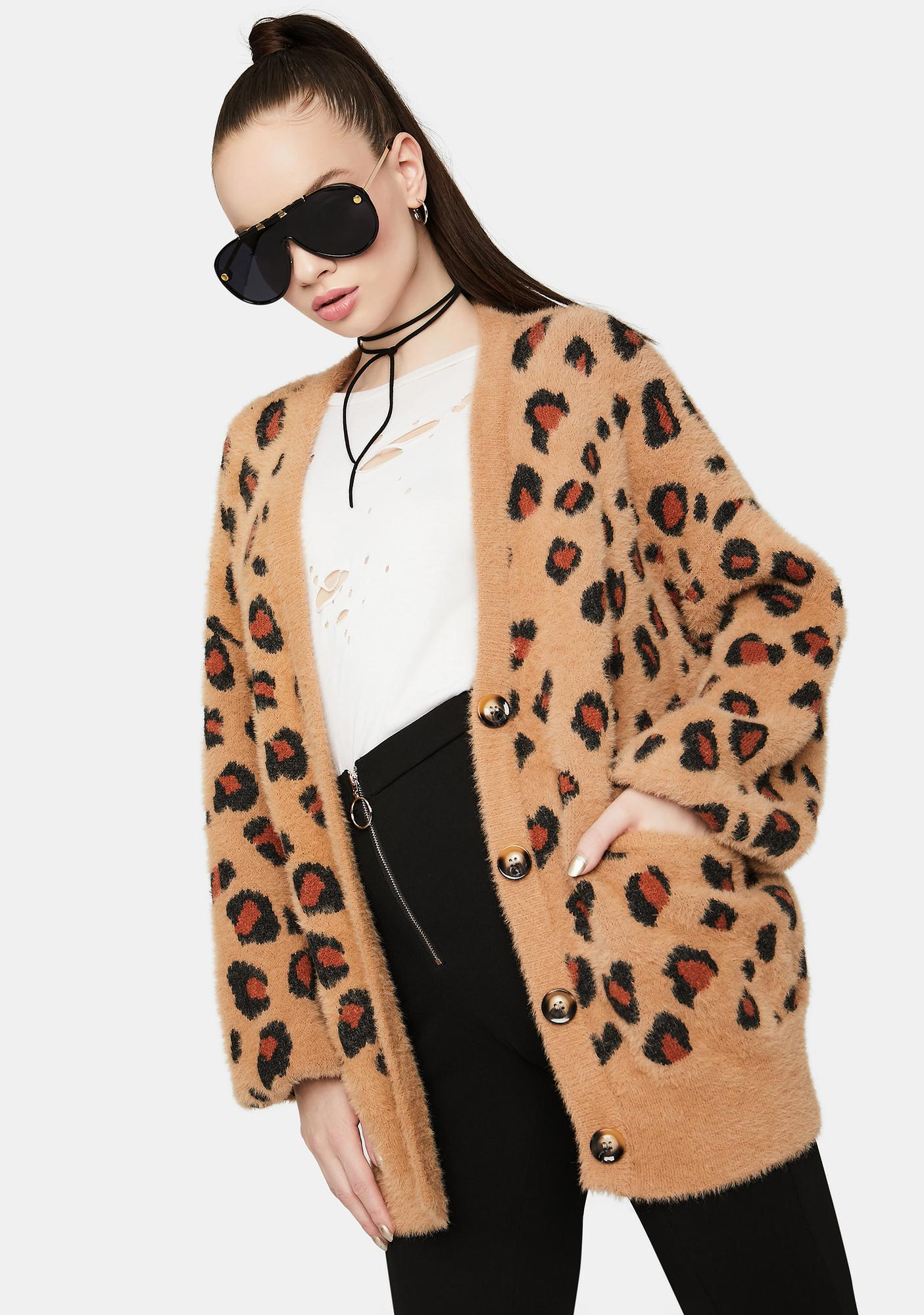 Leopard In Disguise Fuzzy Cardigan