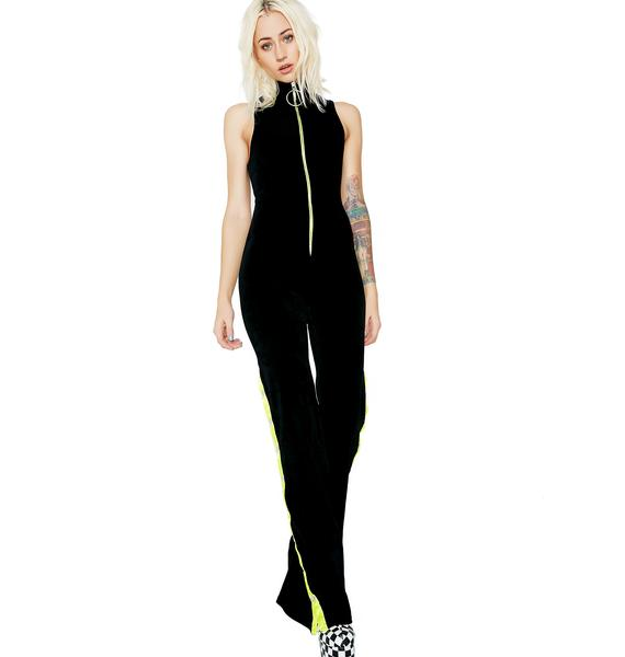 Jaded London Zip Velour Jumpsuit