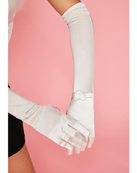 Love Sparkle Rhinestone Satin Gloves