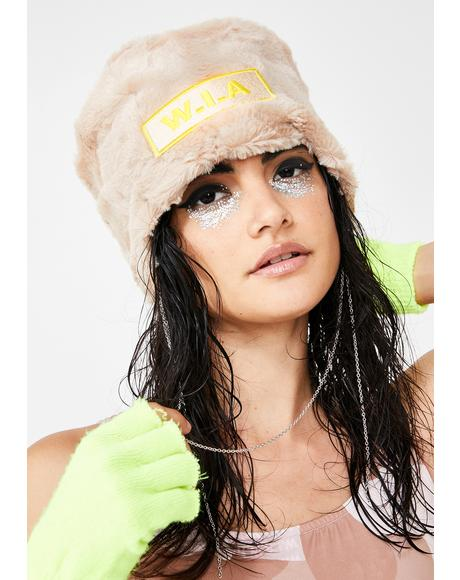 Faux Fur Chain Logo Hat