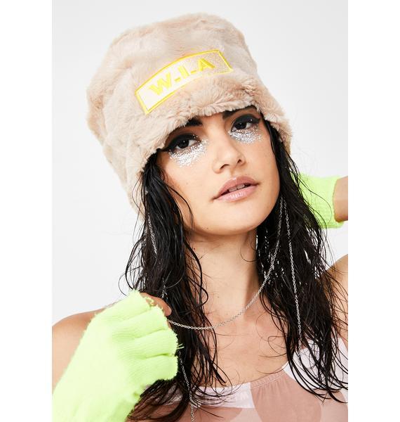 W.I.A Faux Fur Chain Logo Hat