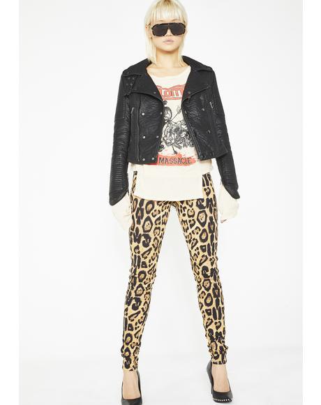 Leopard T-Back Skinny Jeans