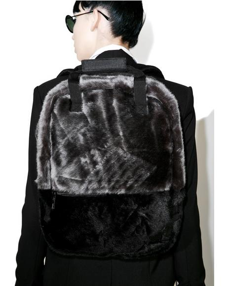 Black Faux Fur Backpack