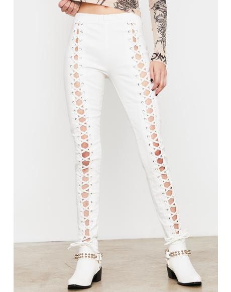 Pure Damned Darling Lace-Up Jeggings