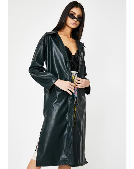 Bottle Green Vegan Leather Trench Coat