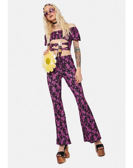 Sunny Side Floral Top & Flares Set