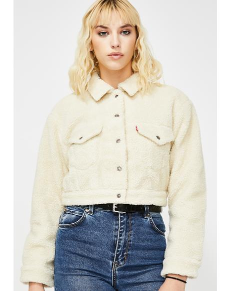 Cloud Cream Cropped Sherpa Jacket