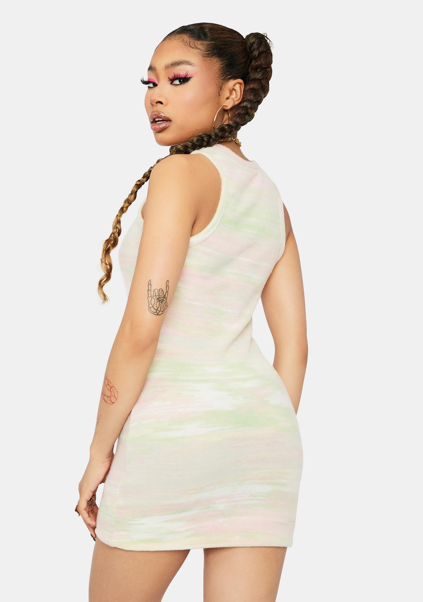 Broken Down Fuzzy Abstract Mini Dress