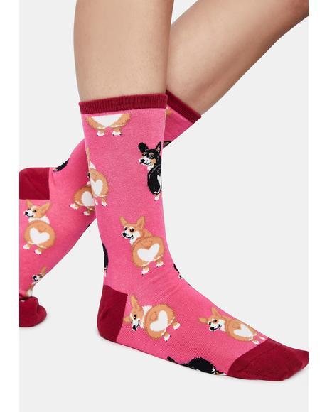 Corgi Butt Crew Socks