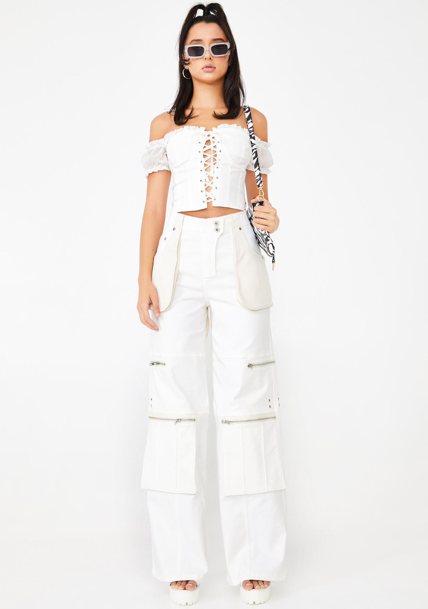 I AM GIA White Holly Lace Up Top