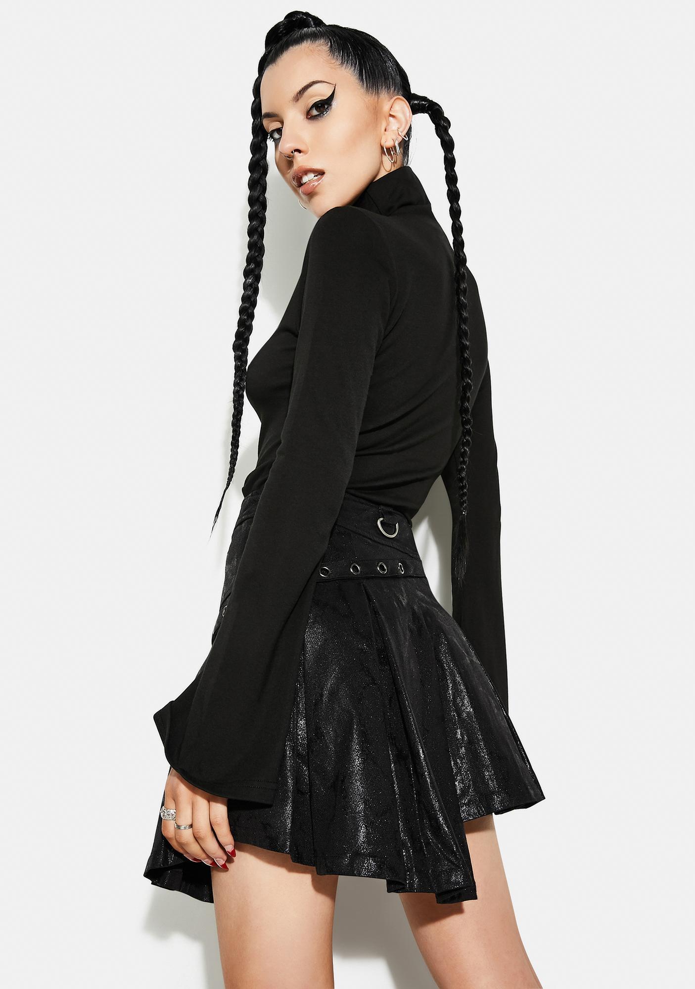 Punk Rave Asymmetrical Pleated Belt Skirt