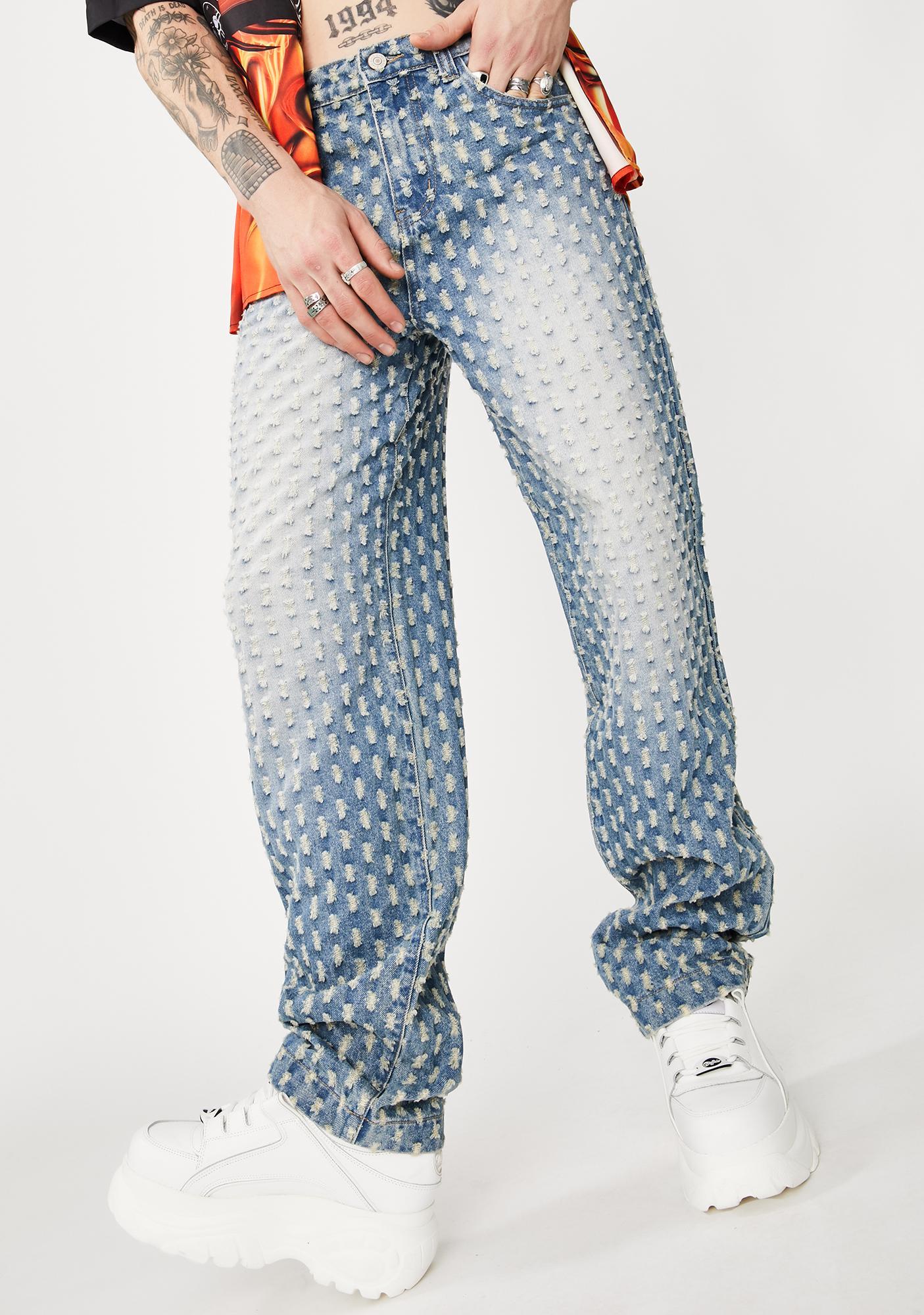 Jaded London Light Blue Distressed Skate Jeans