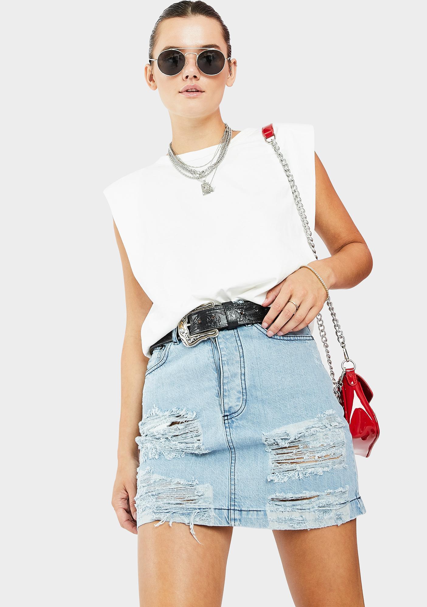 Kiki Riki Distressed Denim Mini Skirt