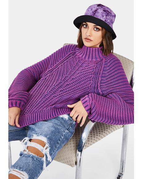 Glowing Orchid Sweetheart Knit Sweater