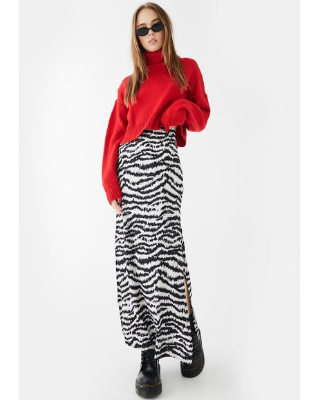 Tinxi Tiger Stripe Maxi Skirt