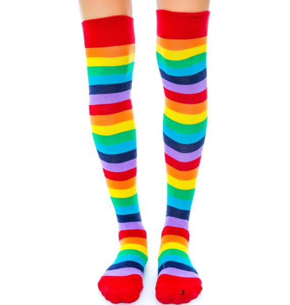 Star Jammerz Rainbow Thigh Highs