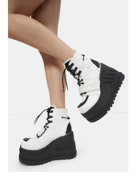 White Void Stomper Platform Wedge Boots
