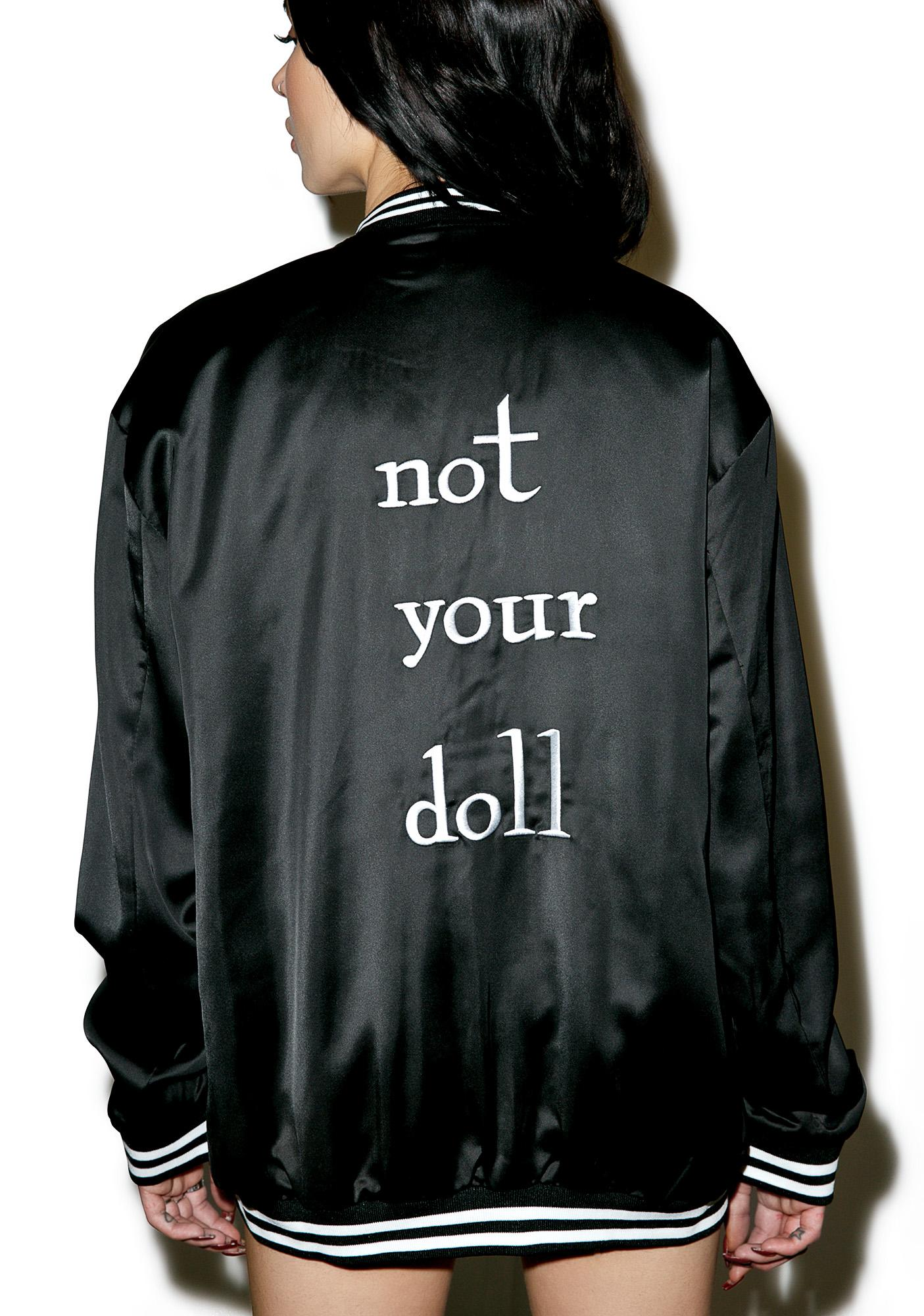 Not Your Doll Satin Bomber Jacket