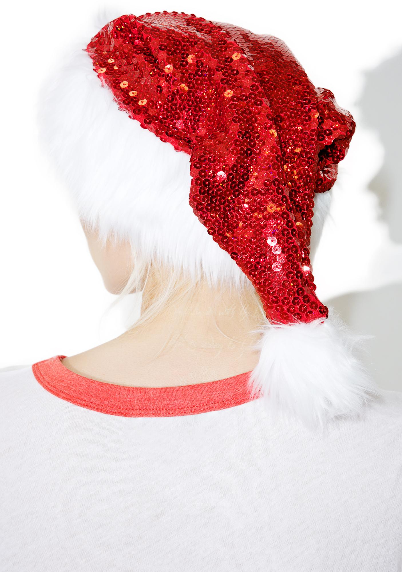 Goin' To Town Sequin Santa Hat