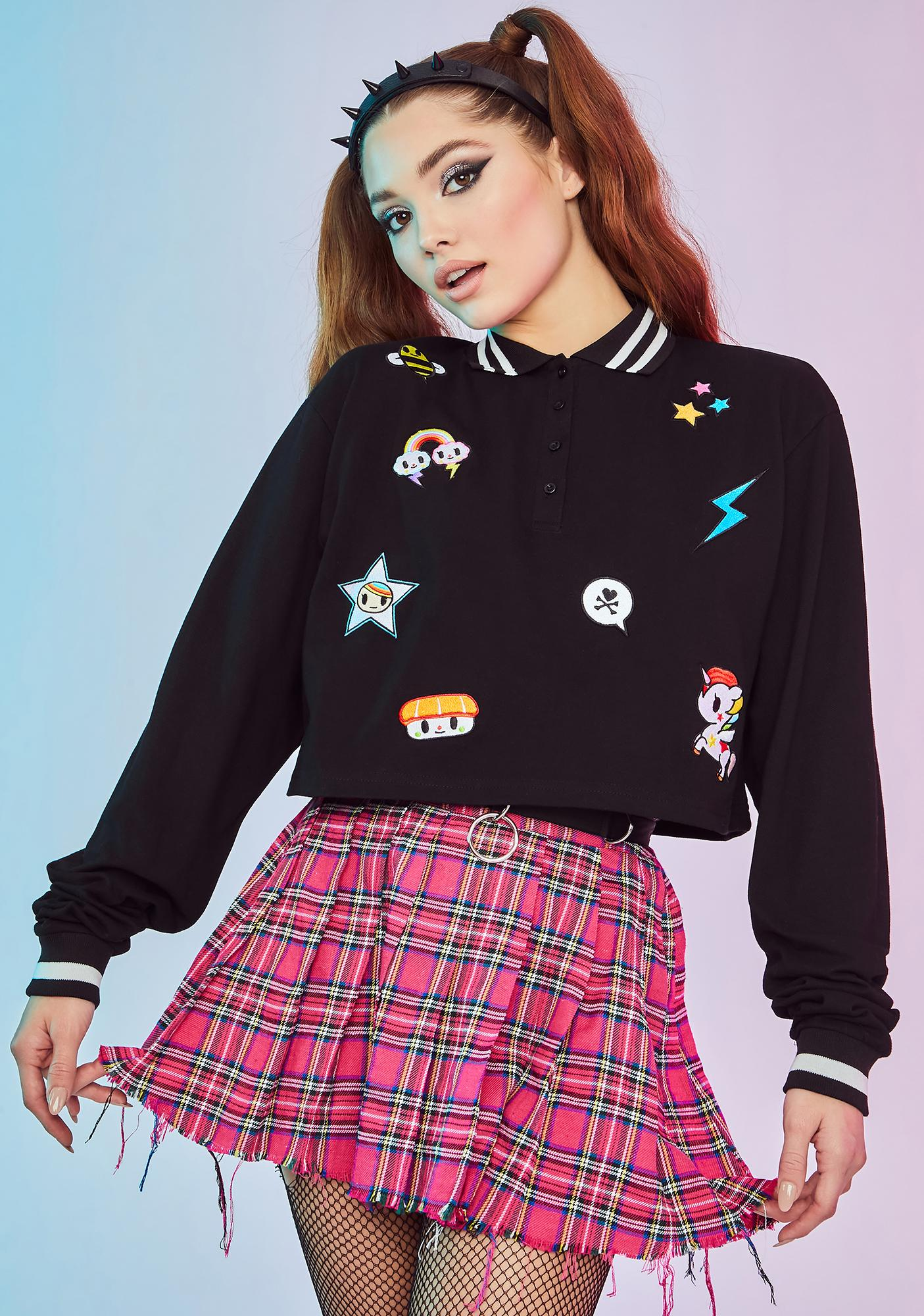 Dolls Kill x tokidoki Halfway To Heaven Patch Cropped Polo